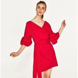 Zara Red Puffy Sleeve Dress